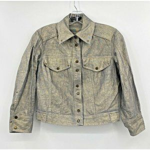 Etcetera Size 0 / XS Linen Crop Jacket Metallic
